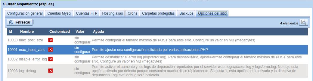 Opciones del sitio web, Gestión de alojamientos de Core-Admin