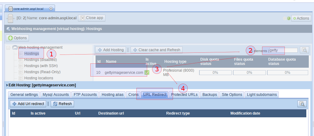 URL Web redirect with #CoreAdmin and #WebhostingManagement